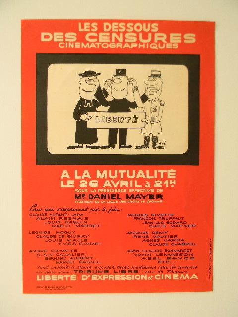 LES DESSOUS DE LA CENSURE CINEMATOGRAPHIQUE. Affiche ornée d'un dessin de Siné. .  [SINE]