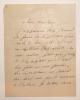 Lettre autographe signée à Madame Emile Gounod (d'après une ancienne note au crayon). Augier Emile .