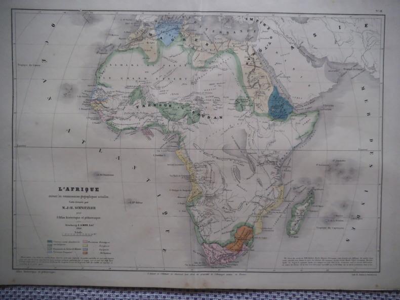 Carte de l'Afrique . SCHNITZLER J.H