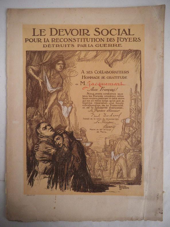 Le devoir social par la reconstitution des foyers détruits par la guerre.. FOUQUERAY Charles