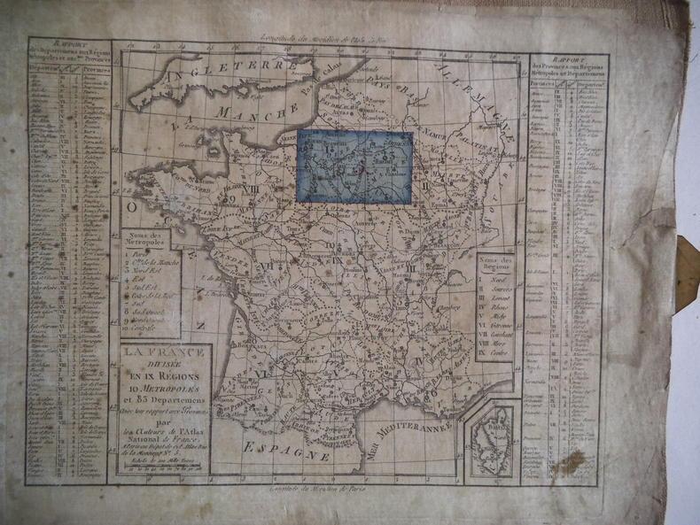 carte ancienne de  La France divisée  en IX régions 10 métropoles et 83 départements avec leur rapport aux provinces par les auteurs de l'atlas ...