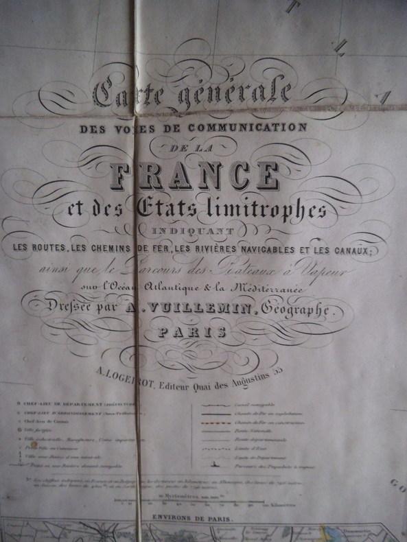 Carte géographique des voies de communication de la France et des pays limitrophes. VUILLEMIN
