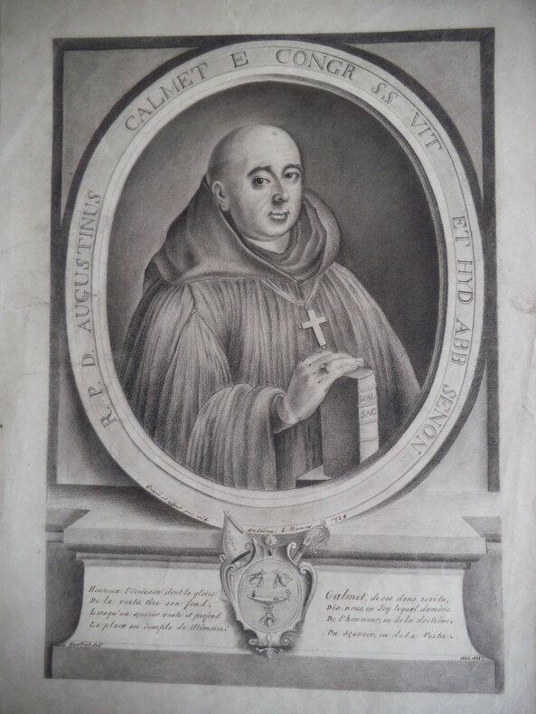 portrait au crayon  de DOM CALMET .. CALMET Dom