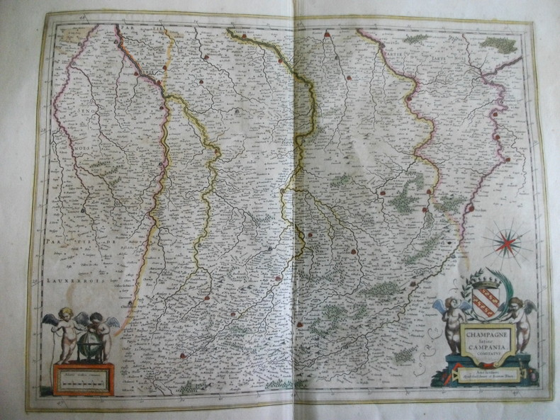Carte de la Champagne Latine Campagnia Comitatus. BLAEU Joannem Amsterdam