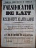 falsification de lait et mise en vente de lait falsifié. Condamnation de la nommée Joséphine Ursule LACQUEHAYE. AFFICHE