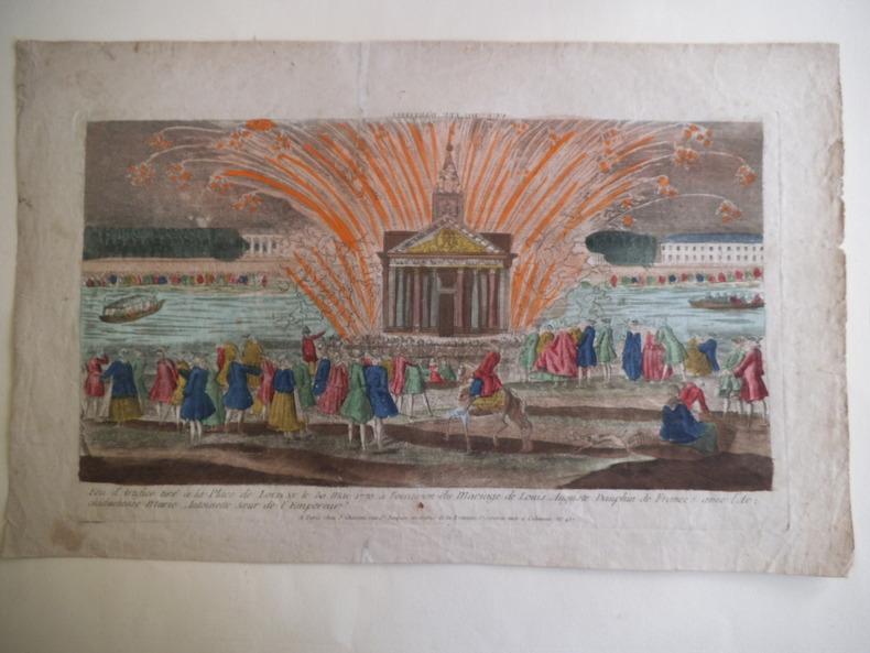 Feu d'artifice tiré à la place de Louis XV le 30 mai 1770 à l'occasion du mariage de Louis Auguste Dauphin de France avec l'Archiduchesse Marie ...