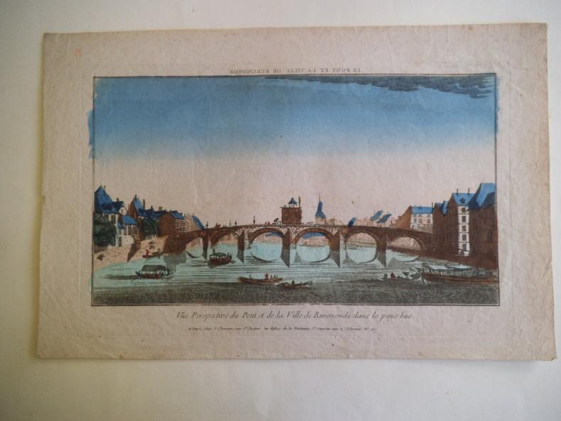 Vue perspective du Pont et de la ville de Rudemonde dans le pays  bas . Vue d'optique