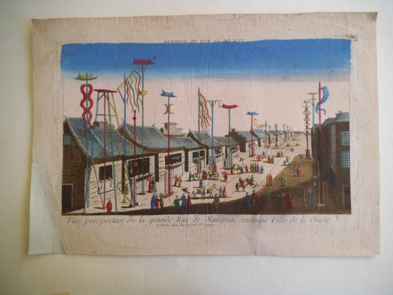 Vue perspective de la grande rue de NANQUIN  ancienne ville de la Chine   . Vue d'optique