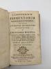 Compendium elementorum matheseos universae, in usum studiosae juventutis adornatum. WOLFFIO, CHRISTIANO (WOLFF, Christian)