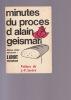 MINUTES DU PROCES D'ALAIN GEISMAR Préface de Jean-Paul Sartre.