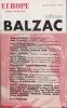 colloque BALZAC . EUROPE (revue mensuelle)