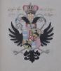 Album de 121 feuillets sur papier vergé portant une suite de blasons et armoiries dessinés et coloriés. Manuscrit du XVIIIe siècle. EMPIRE ROMAIN ...