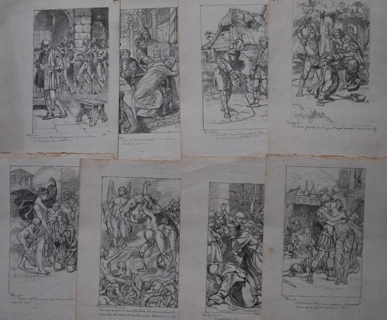 Suite de 8 DESSINS ORIGINAUX destinés à l'illustration du Faust de Marlowe.. VAN MAELE (pseud. de Maurice MARTIN).
