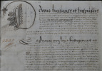 AVEU calligraphié concernant les domaines du Grand Souvigné, de La Perraudière et de la Burelière à Lué. MANUSCRIT sur peau de vélin de 20 ff. de 26 x ...