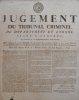 Séant à Auxerre du 16 Pluviôse, an 4 de la République française, une & indivisible.. [PLACARD] JUGEMENT DU TRIBUNAL CRIMINEL DU DÉPARTEMENT DE L'YONNE