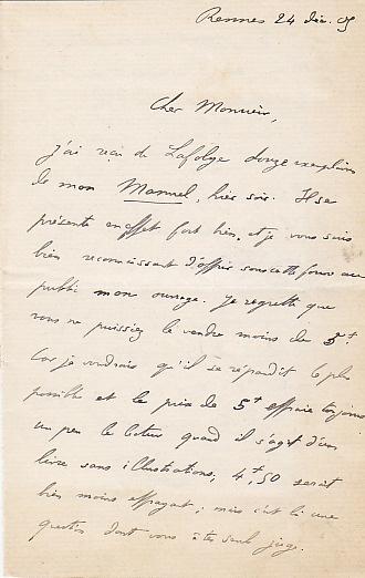 Lettres autographes signées de Georges Dottin.. Dottin, Georges.
