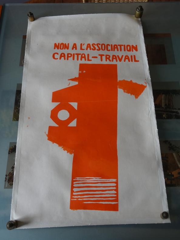 """AFFICHE ORIGINALE - MAI 68 - """"NON A L'ASSOCIATION CAPITAL-TRAVAIL"""". X"""