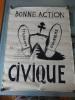 """AFFICHE ORIGINALE - MAI 68 - """"BONNE ACTION CIVIQUE"""". X"""