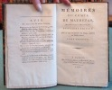 Mémoires du comte de Maurepas, Ministre de la marine - 3 volumes.. PHELYPEAUX DE MAUREPAS Jean-Frédéric, (comte de Maurepas)
