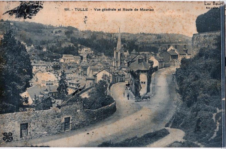 TULLE - VUE GÉNÉRALE ET ROUTE DE MAURIAC. Corrèze