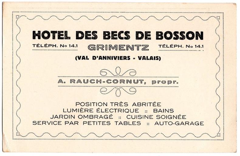 Hotel des becs de Bosson.. Suisse