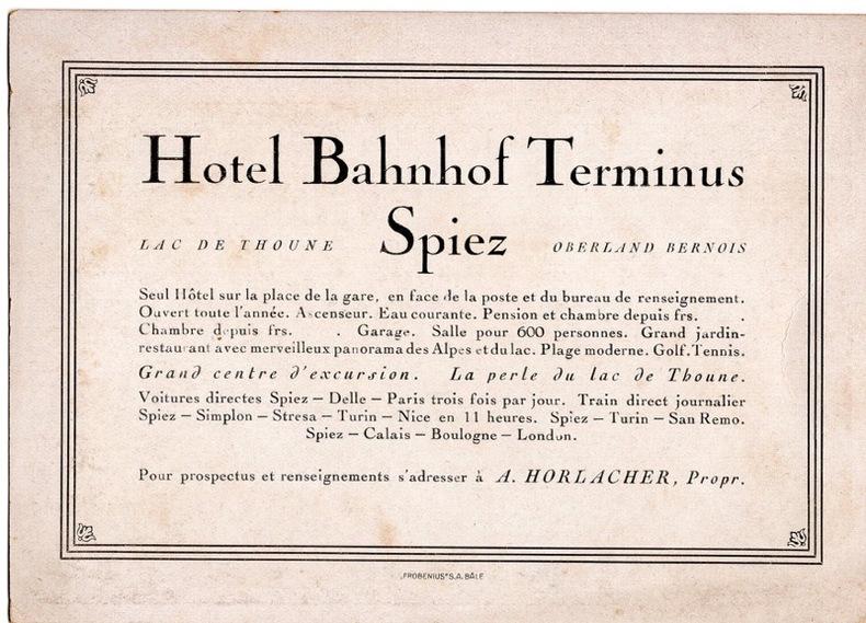Hotel Bahnhof Terminus , Spiez , . Suisse