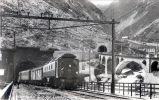 Goschenen, elektrischer zug der Gotthardbahn. Suisse