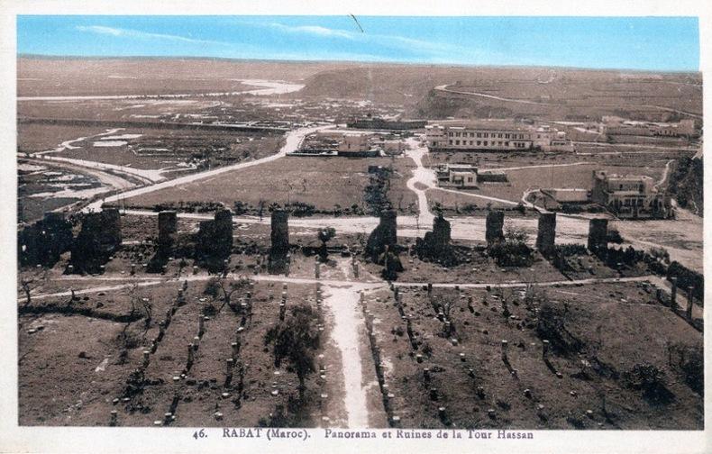 RABAT , Panorama et ruines de Tour Hassan. Maroc