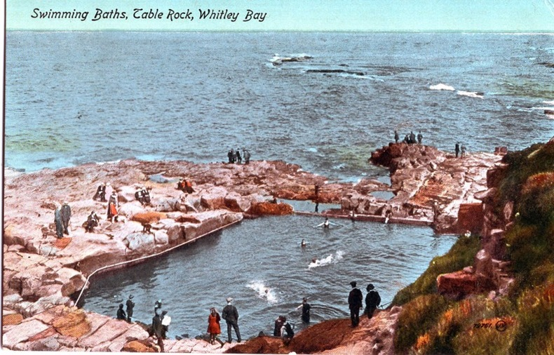 WHITLEY BAY , Swimming Baths, Table Rock. Angleterre