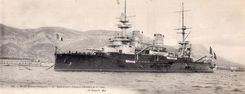 """Le """" St Louis """", Cuirassé d'Escadre de 1er rang, . Marine Militaire Française."""