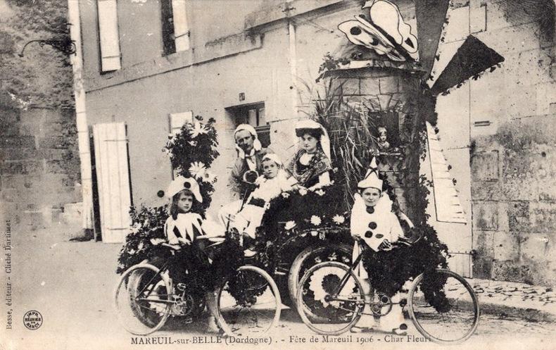 MAREUIL-sur-Belle , Fête de Mareuil 1906 , Char Fleuri. Dordogne