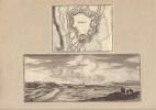 Plan et vue de Marsal. Gravures XVIIe, vue signée Joh. Peeters, issue de Typographia Galliae.-. MERIAN Matthaeus.-