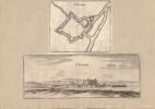 Plan et vue de St. Dizier (St. Dezier). Gravures XVIIe, vue signée Jo. Peeters, issue de Typographia Galliae.-. MERIAN Matthaeus.-