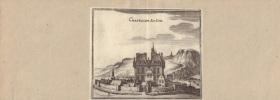 Vue de Chastillon Sur Seine. Gravure XVIIe, probablement de Johan Peeters, issue de Typographia Galliae.-. MERIAN Matthaeus.-
