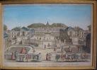 Vue perspective du château de Noizy du côté de l'entrée proche Versailes. Vue d'optique