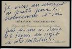 Carte autographe signée. VACARESCO Hélène