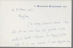 Carte autographe signée. BORDEAUX Henry