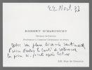 Carte autographe signée. ROBERT D'HARCOURT