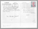 Carte autographe signée. AUBIER-GABAIL Madeleine