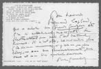 Carte autographe signée. GÉRALDY Paul