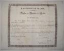 Diplôme de Bachelier ès Lettres. Université de France