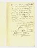 1836 - 1936. femme de lettres, elle tint un salon célèbre, haut lieu de l'antidreyfusisme. L.A.S. datée 17 décembre 1916.. ADAM Juliette