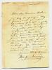 1825 - 1877. Auteur dramatique.L.S. datée 10.11.53 à Abel Moreau. L.A.S. (le haut de la lettre a été grossièrement renforcé).. BARRIERE Théodore