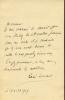 1860 - 1937. Critique littéraire. L.A.S. datée 17 avril 1909.. DOUMIC René