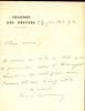1863 - 1925.Homme politique, ministre puis Président du Conseil. Billet autographe signé.. VIVIANI René