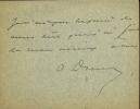 Dumas fils 1824 - 1895. Lettre autographe signée.. DUMAS Alexandre
