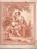 Pastorale : trois jeunes filles jambes nues, dont une assise au pied d'un arbre et au bord d'un ruisseau, à côté un panier de fleurs et un linge.. ...