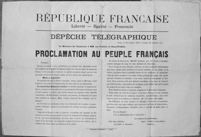Proclamation au Peuple Français. Crémieux, Glais-Bizoin, Gambetta