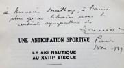 Une anticipation sportive. Le ski nautique au XVIIIe siècle. . SAUREL (Ch.).