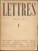 LETTRES N° 1, 4ème année, 1946.. COLLECTIF (Tardieu - Hölderlin - M. Desbordes-Valmore - J. Lescure - Van Gogh - etc.)